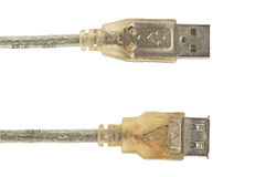 USB connector, transparent. With cable in metal braid Stock Photography