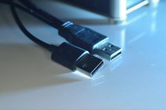 Usb connectors on wire Royalty Free Stock Photo