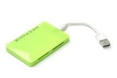 USB czytnik kart odizolowywający Fotografia Stock