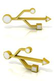 USB 3d golden signs. Front and side view Royalty Free Stock Image