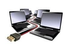 usb de cahiers de câble Images libres de droits