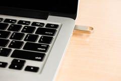 USB-de stok van de flitsaandrijving met laptop computer wordt verbonden die Stock Foto