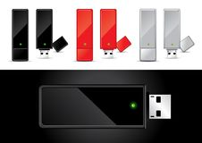 USB Disk in Black, Red and Silver Stock Photos