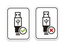 USB disponível e sinais não disponíveis de USB Fotografia de Stock Royalty Free