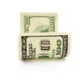 Usb do soquete em cem contas de dólar Foto de Stock