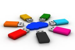 Usb drive with cloud Stock Images