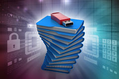 Usb drive with file folder. In color background Stock Images