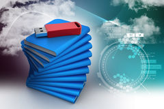Usb drive with file folder. In color background Stock Photography