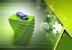Usb drive with file folder Royalty Free Stock Image