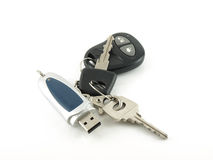 USB drive and key from car Royalty Free Stock Image