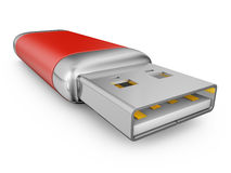 Usb drive of red color Royalty Free Stock Photo