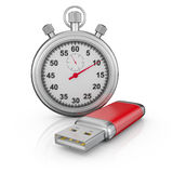 Usb drive and stopwatch Royalty Free Stock Photos