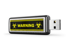 USB Drive With Viral Software On White Background. Stock Photo