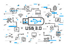 USB 3.0 elements vector illustration with colorful elements. Portable data storage set: desktop, usb flash drive, laptop, cloud storage, multimedia files line Stock Photo