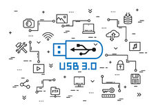 USB 3 elements vector illustration Royalty Free Stock Photo