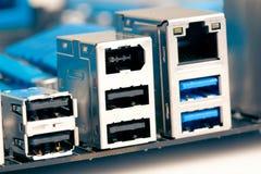 Usb, Ethernet y socketes del firewire Imagen de archivo