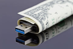 USB exponering och dollar Royaltyfri Foto