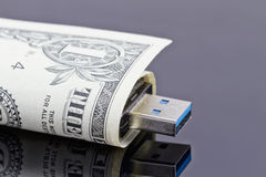 USB exponering och dollar Royaltyfri Fotografi