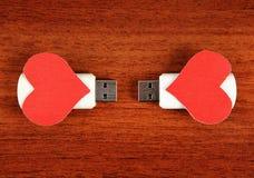 USB exponeringsdrev med hjärtaformer Fotografering för Bildbyråer