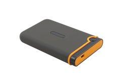 USB external portable hard disk. Shock-resistant external portable hard disk isolated on a white background royalty free stock image