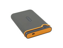 USB external portable hard drive. Shock-resistant external portable hard drive isolated on a white background Stock Photos