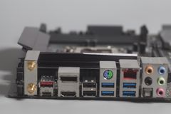 USB för bakpanel för datordel ljudsignal, Ethernetkontaktdon USB 3, Arkivbild