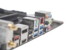 USB för bakpanel för datordel ljudsignal, Ethernetkontaktdon USB 3, Arkivfoton