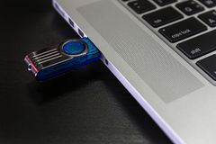 USB flash cards and thumb drive or stick Virtual memory storage Stock Photos