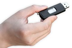 Usb flash drive. With hand on white background Royalty Free Stock Photos
