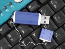 Usb Flash Drive. On Keyboard Royalty Free Stock Image