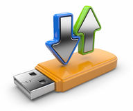 USB flash drive and arrow 3D.  Royalty Free Stock Images