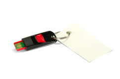 USB flash drive with a blank card attached Stock Photography
