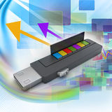 Usb flash drive and books. In color background Stock Photos
