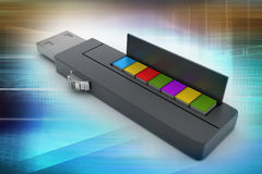 Usb flash drive and books Royalty Free Stock Images