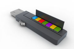 Usb flash drive and books Stock Photos