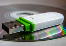 USB flash drive and CD. Royalty Free Stock Images
