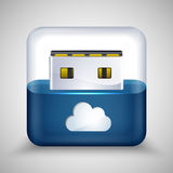 USB flash drive with cloud. Vector Stock Photos