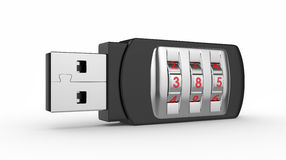 USB flash drive with combination lock Royalty Free Stock Image