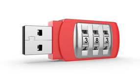 USB flash drive with combination lock Stock Photo