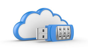 USB flash drive with combination lock and cloud. Data security concept. USB flash drive with combination lock and cloud. 3D image on white Stock Photography