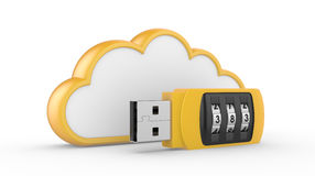 USB flash drive with combination lock and cloud. Data security concept. USB flash drive with combination lock and cloud. 3D image on white Royalty Free Stock Photos