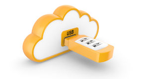 USB flash drive with combination lock and cloud Royalty Free Stock Images