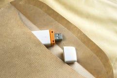 USB flash drive in envelope Stock Photo