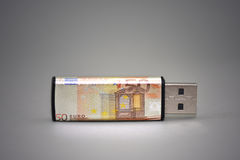 Usb flash drive with the euro banknote on gray background. Stock Photography