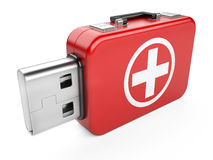 Usb flash drive and first aid sign. On white background. 3d image Royalty Free Stock Photo