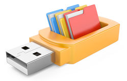 Usb flash drive and folders. On white background. 3d image Royalty Free Stock Photo