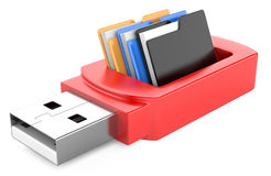 Usb flash drive and folders. On white background. 3d image Stock Images