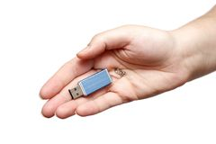 USB Flash Drive in hand Stock Images