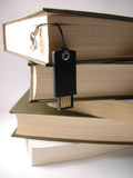 USB flash drive hanging in front of books. Describes progress in data keeping, and a progress itself Royalty Free Stock Photos