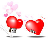 Usb flash drive heart love Stock Image